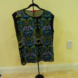 F21 Womens Floral Sheer Sleeveless Blouse - Large